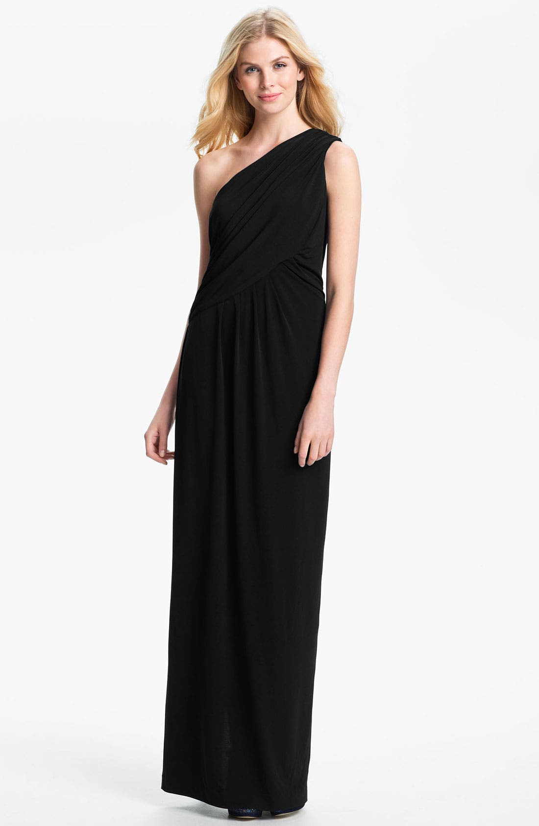 Alternate Image 1 Selected - Calvin Klein One Shoulder Draped Jersey Gown