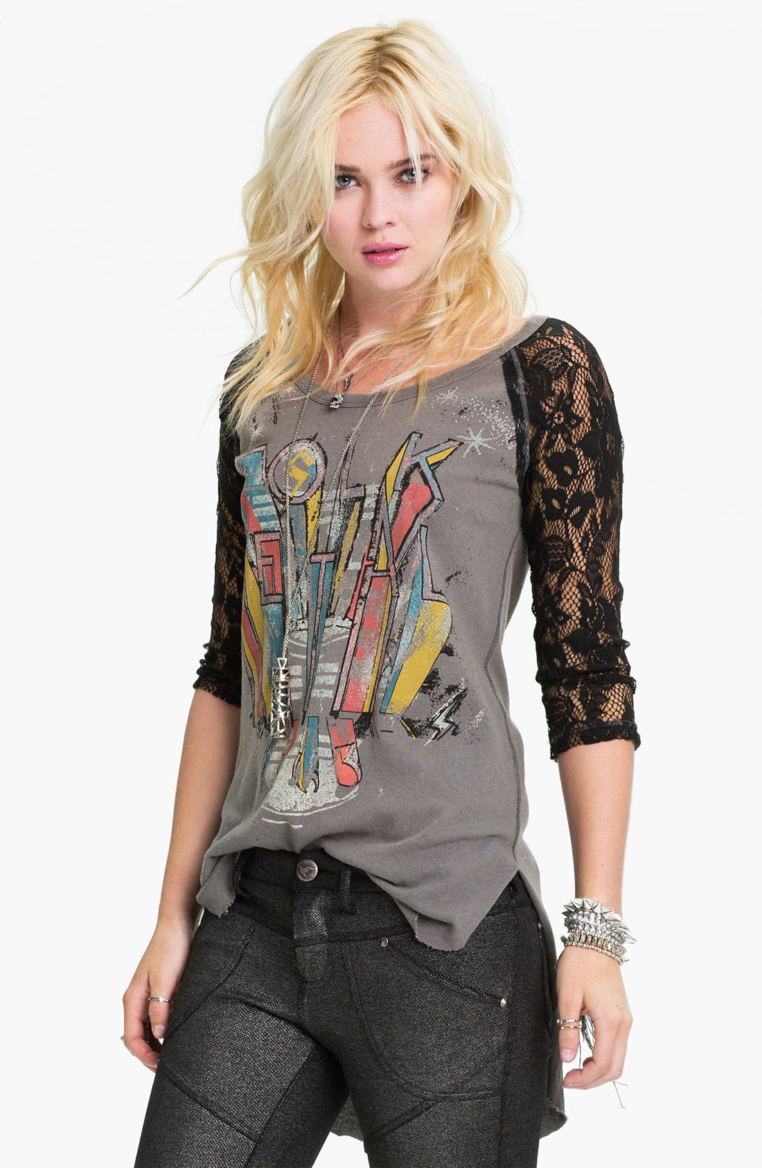 Main Image - Free People 'Renegade' Lace Sleeve Baseball Tee