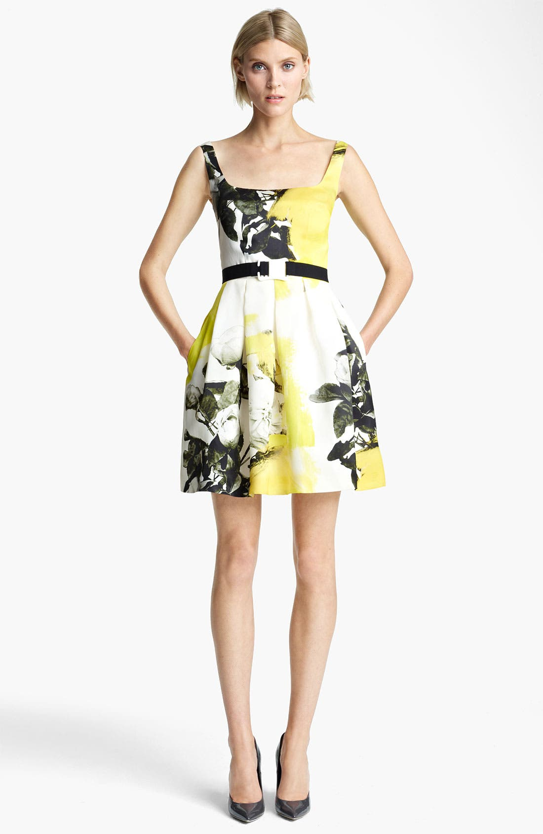 Alternate Image 1 Selected - Christopher Kane Yellow Floral Print Circle Skirt Dress