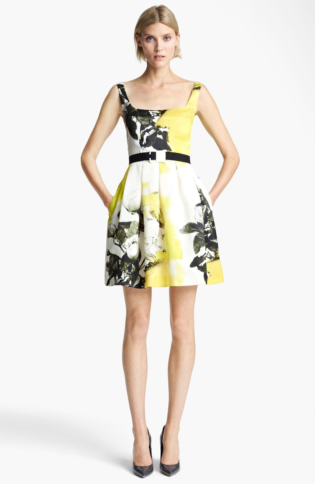 Main Image - Christopher Kane Yellow Floral Print Circle Skirt Dress