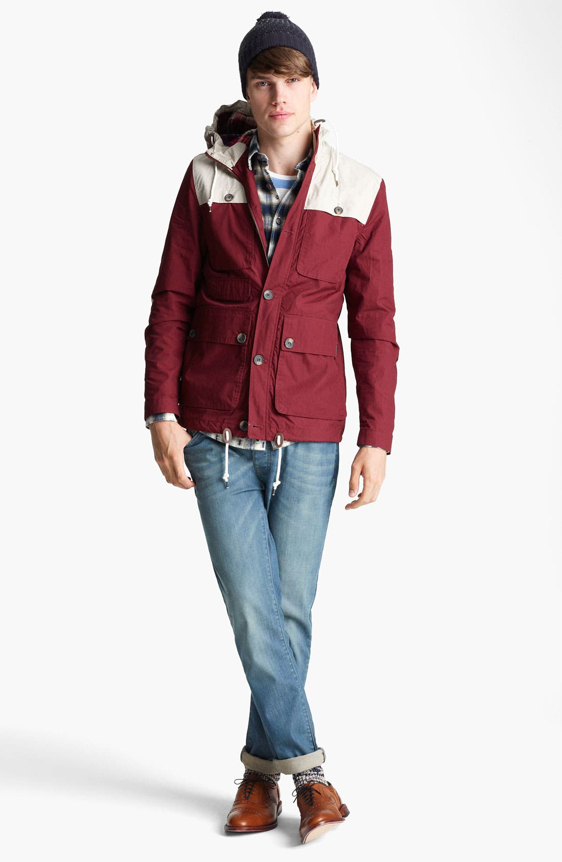 Alternate Image 5  - Topman Colorblock Hooded Jacket