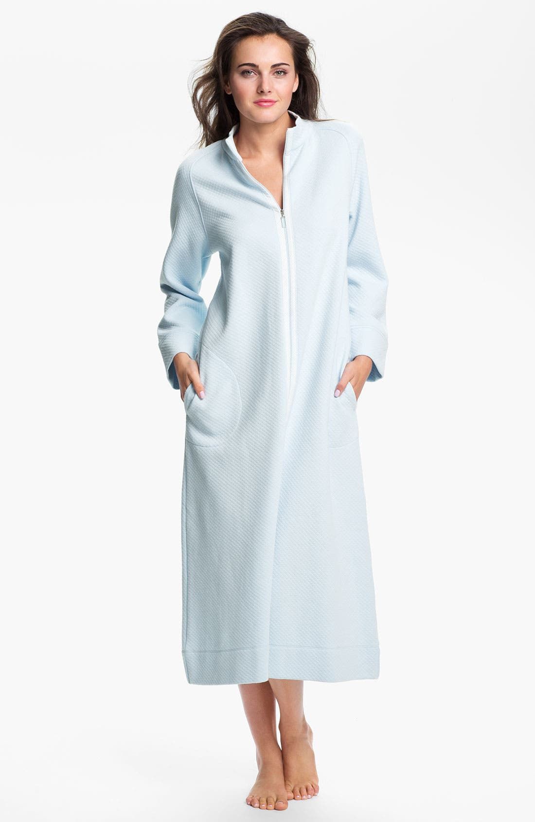 Alternate Image 1 Selected - Carole Hochman Designs Diamond Quilt Zip Front Robe