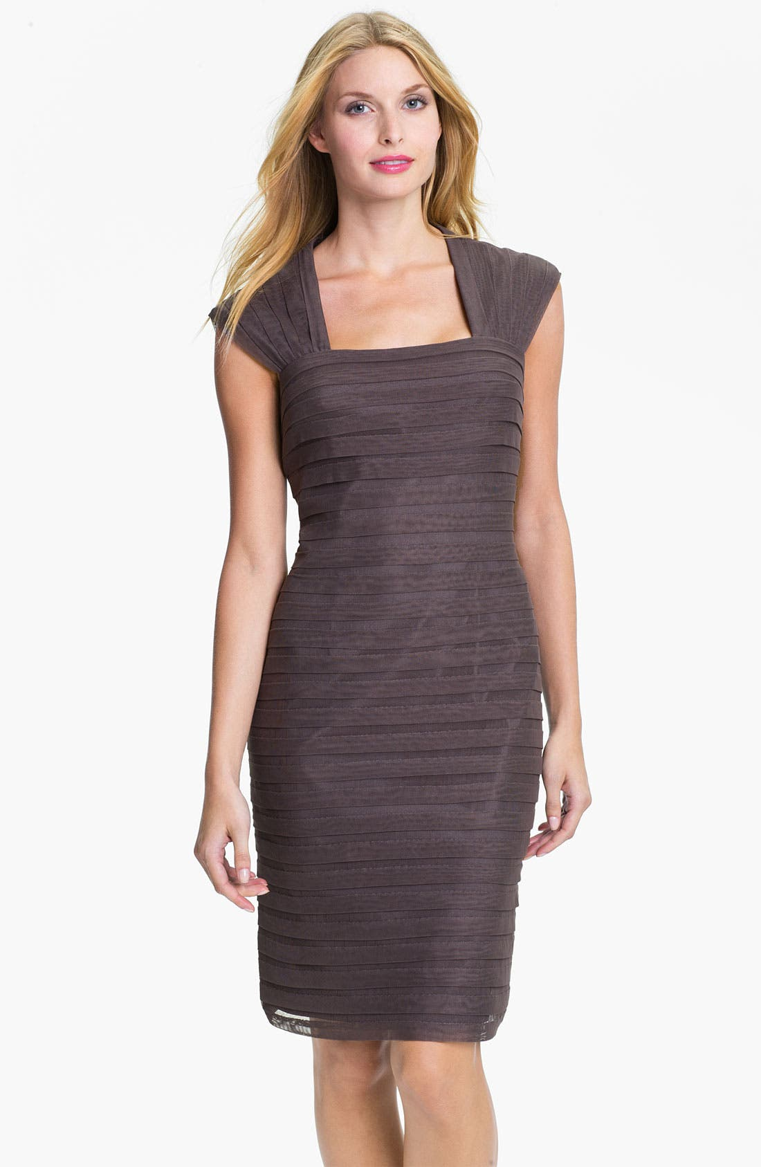 Alternate Image 1 Selected - Adrianna Papell Shutter Pleat Mesh & Taffeta Sheath Dress