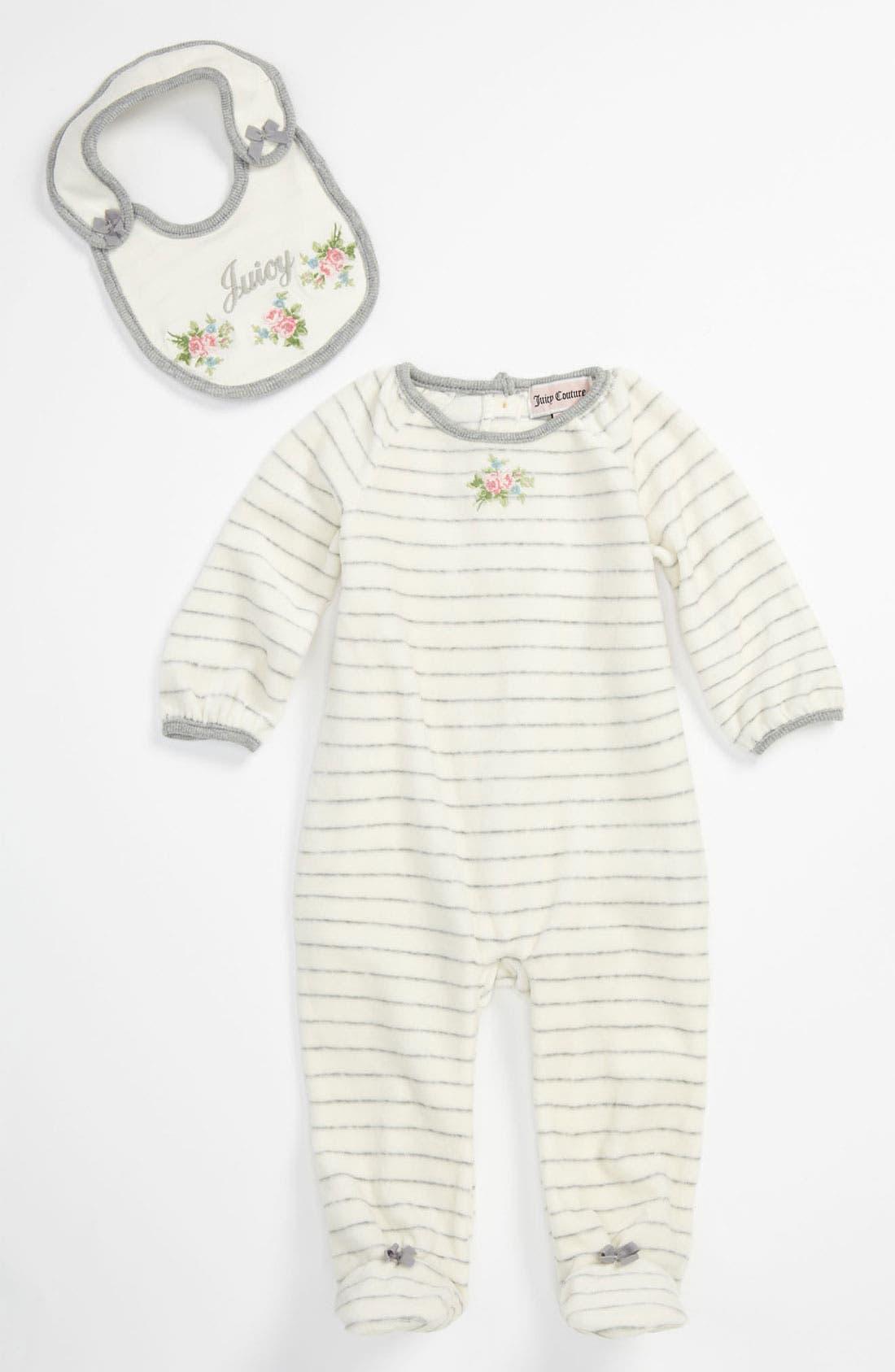 Alternate Image 1 Selected - Juicy Couture Velour Footie & Bib (Infant)