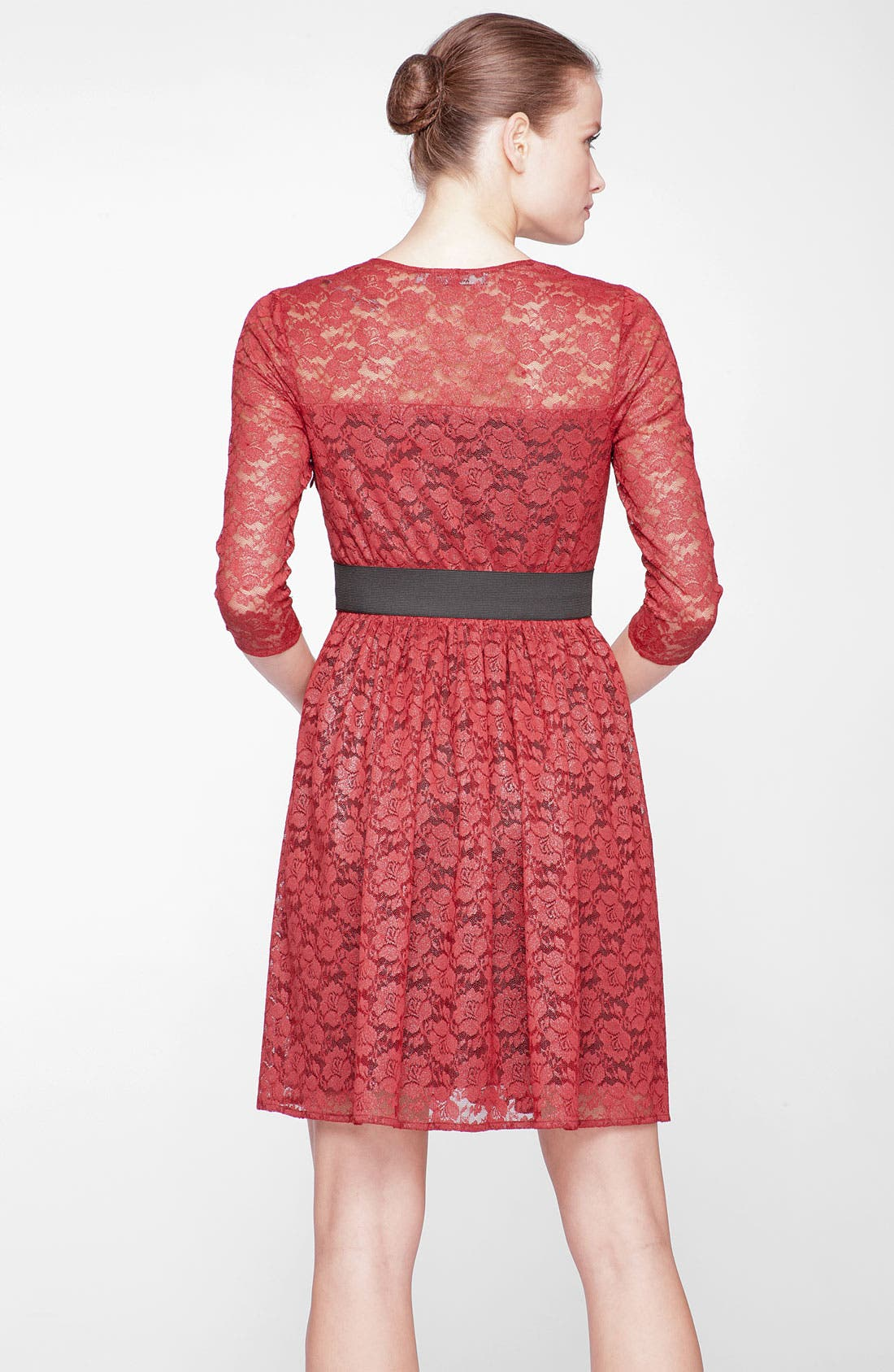 Alternate Image 2  - Marc New York by Andrew Marc Square Neck Lace Fit & Flare Dress