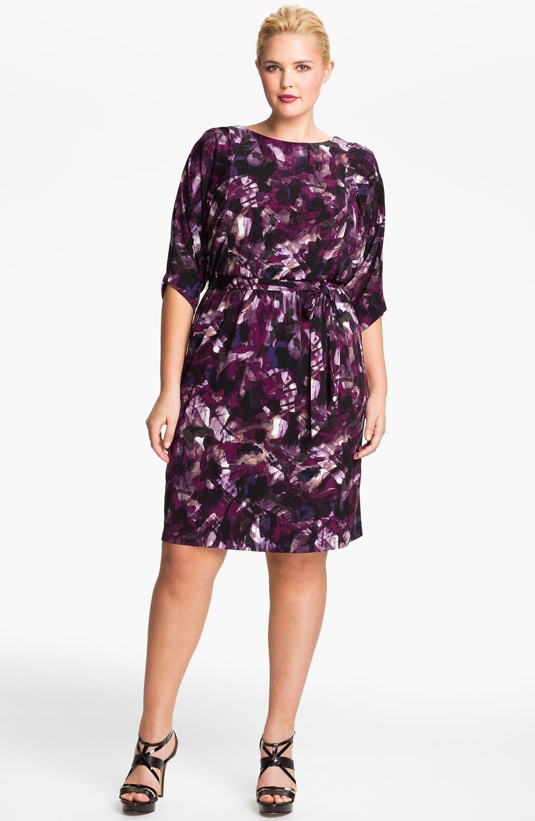 Alternate Image 1 Selected - Eliza J Tie Waist Blouson Dress (Plus)