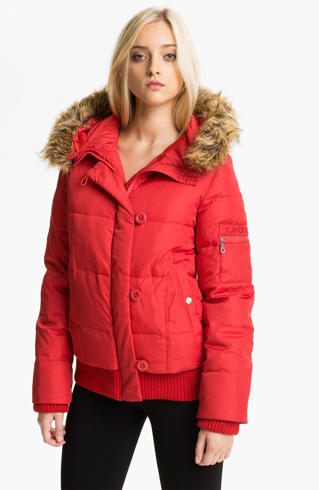 Main Image - DKNY Faux Fur Trim Split Hood Quilted Bomber (Online Exclusive)