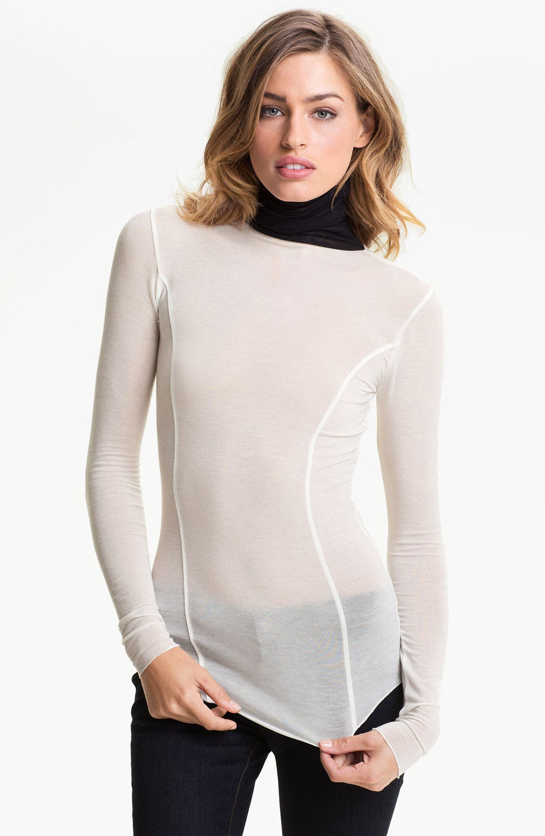 Main Image - Trouvé Sheer Seamed Turtleneck