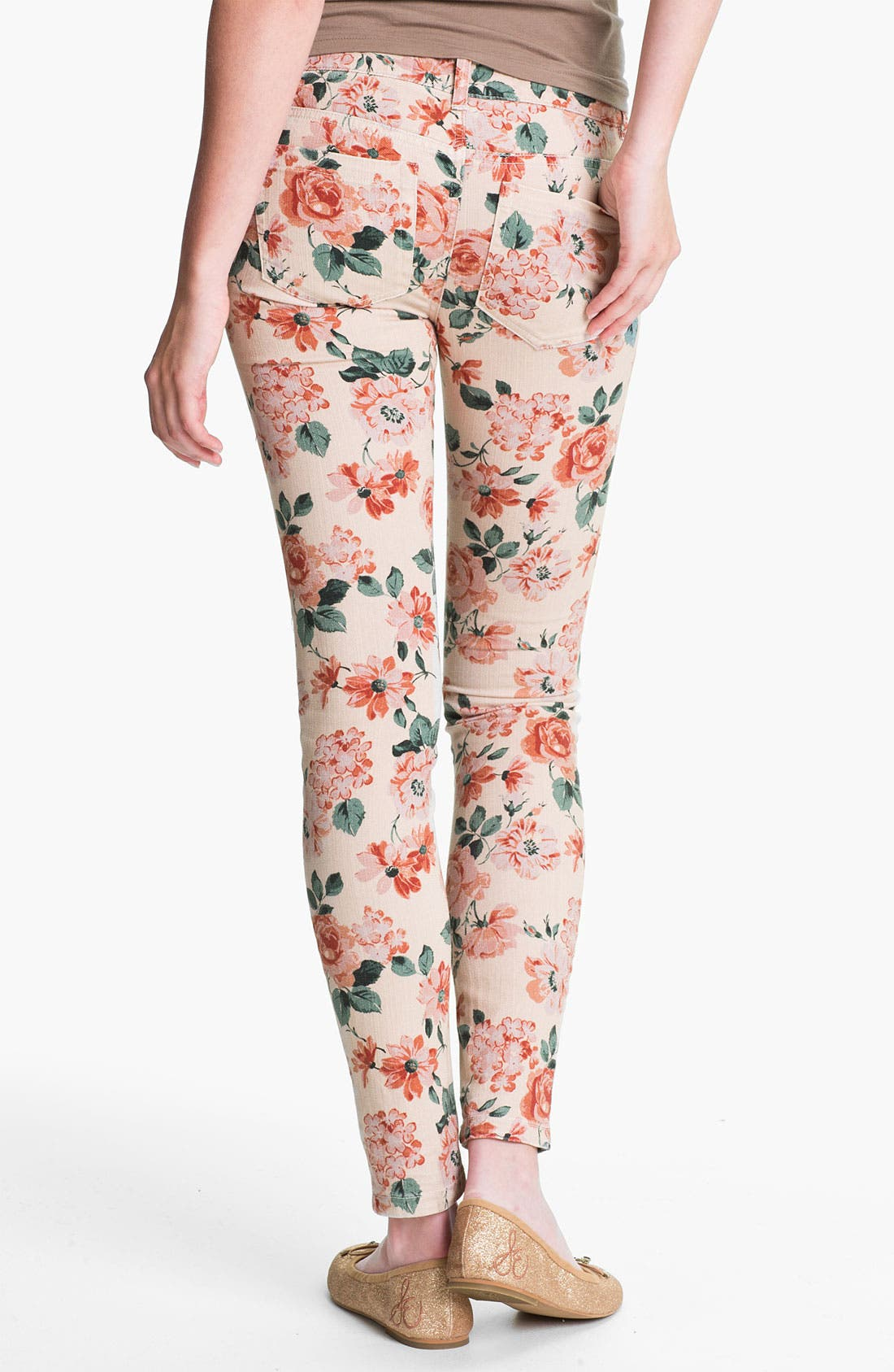 Main Image - Fire Floral Print Skinny Jeans (Juniors)