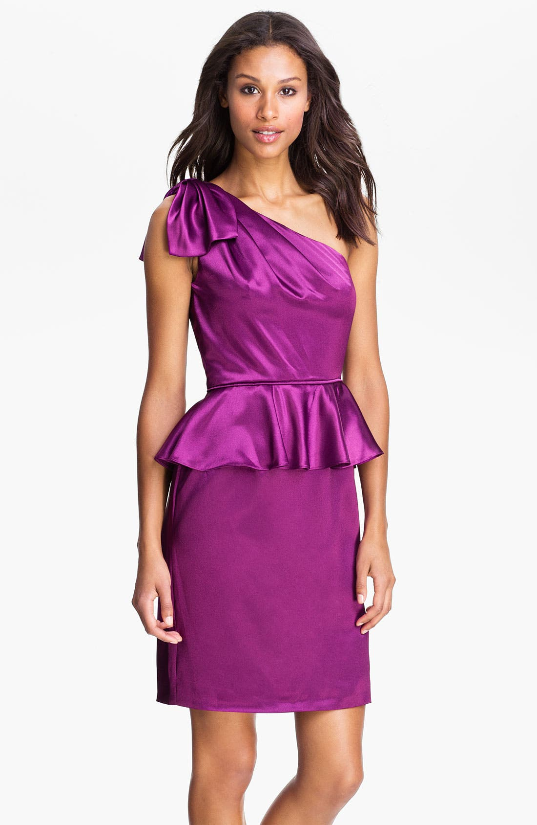Alternate Image 1 Selected - Jill Stuart One Shoulder Satin Peplum Dress