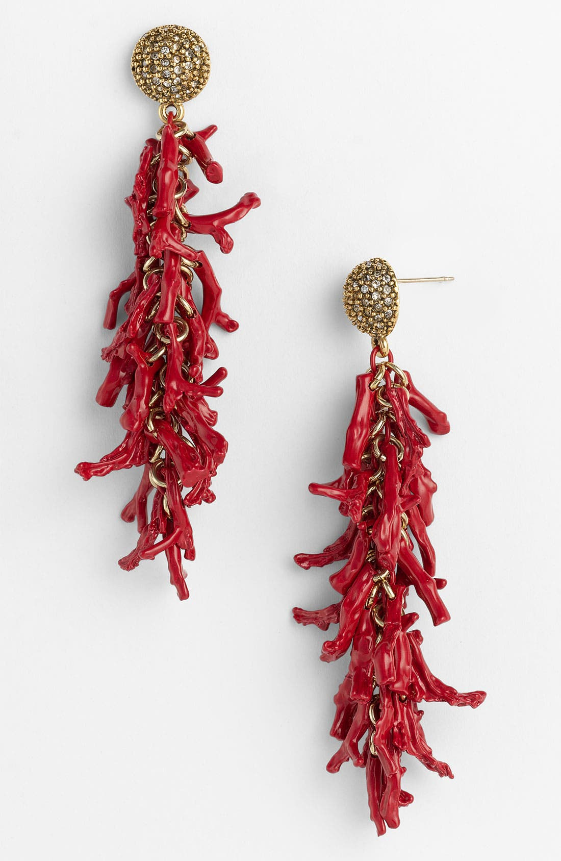 Main Image - St. John Collection Coral & Crystal Pendant Earrings