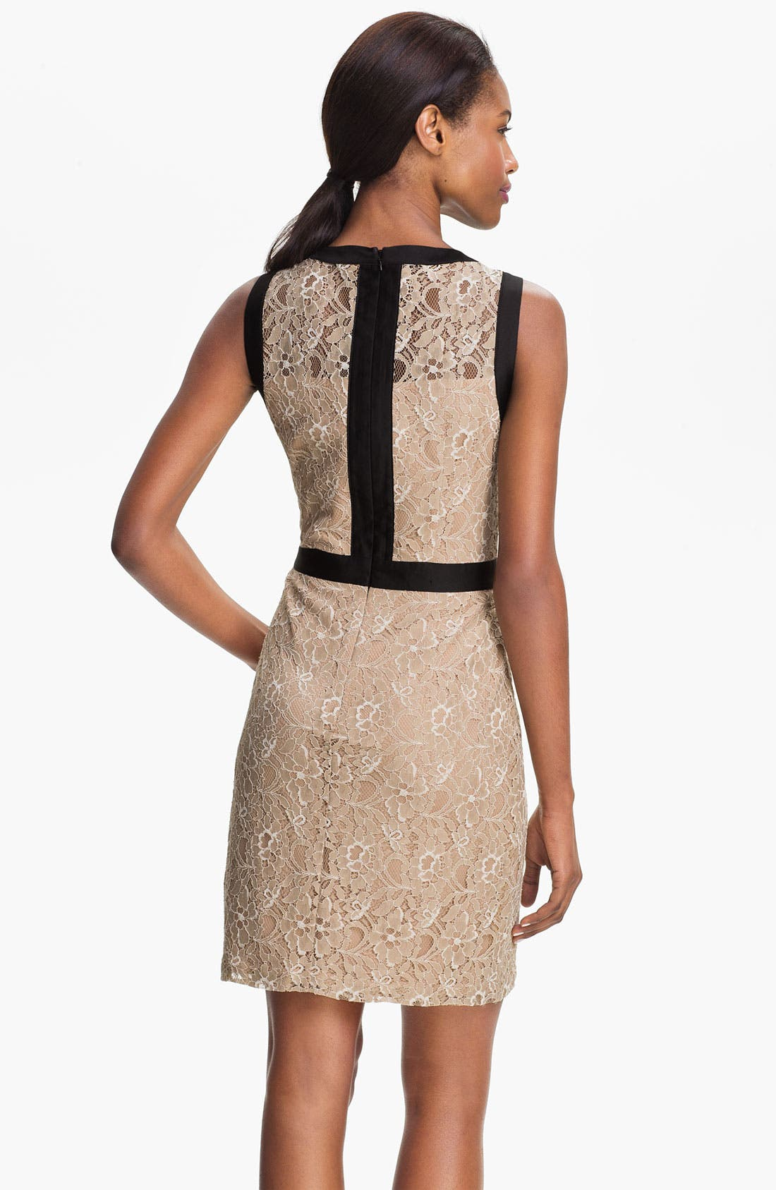 Alternate Image 2  - Max & Cleo Satin Trim Lace Sheath Dress