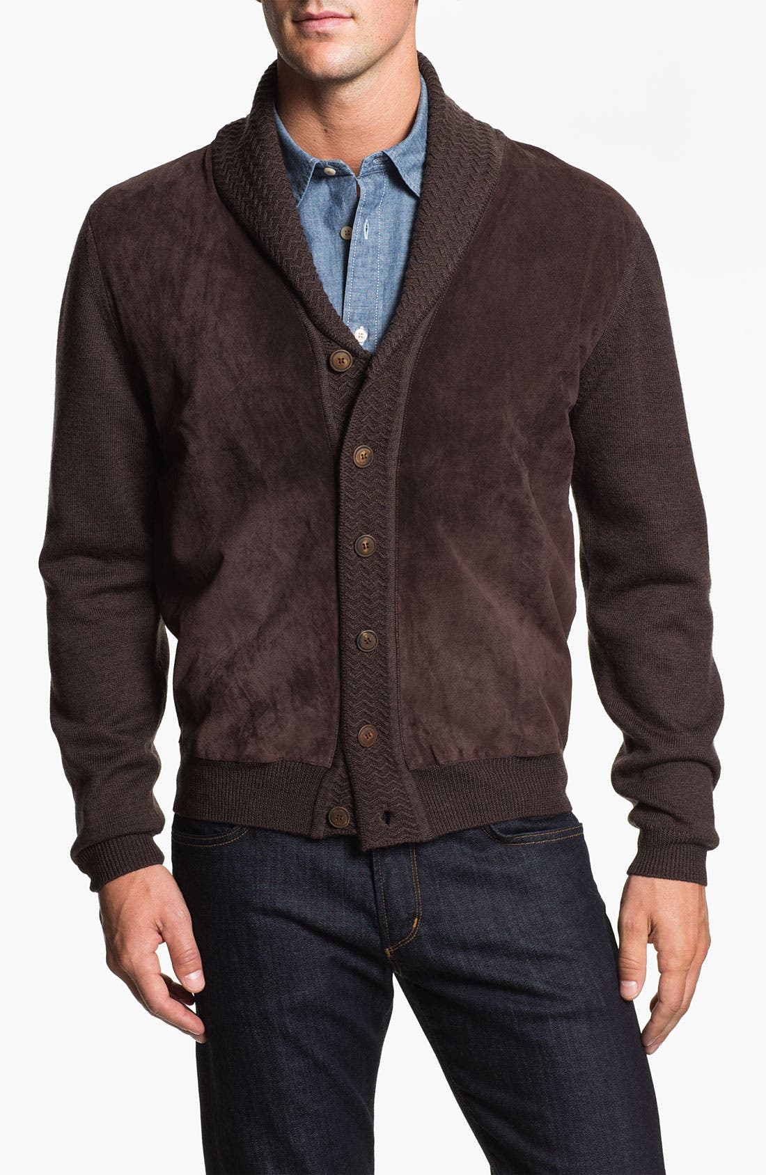 Alternate Image 1 Selected - Hickey Freeman Shawl Collar Suede & Wool Cardigan