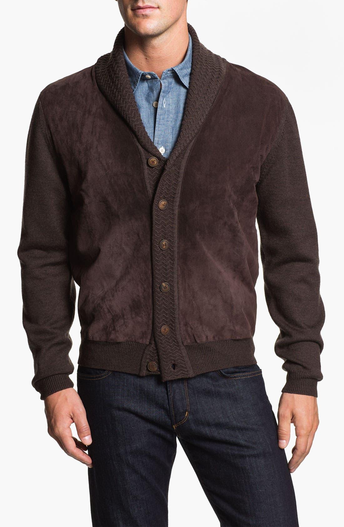 Main Image - Hickey Freeman Shawl Collar Suede & Wool Cardigan