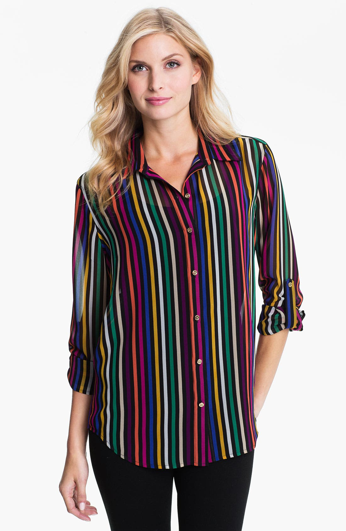 Alternate Image 1 Selected - Chaus Stripe Chiffon Blouse