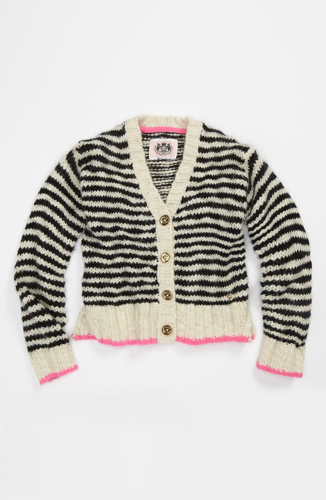 Alternate Image 1 Selected - Juicy Couture 'Thick & Thin' Stripe Cardigan (Little Girls & Big Girls)