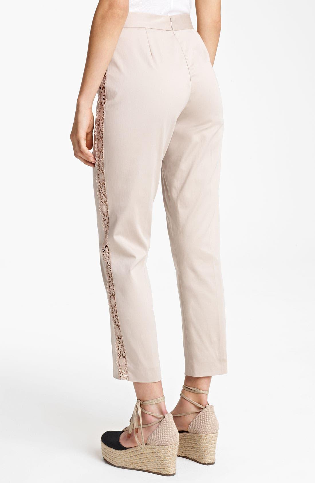 Alternate Image 2  - Jean Paul Gaultier Lace Detail Stretch Gabardine Pants