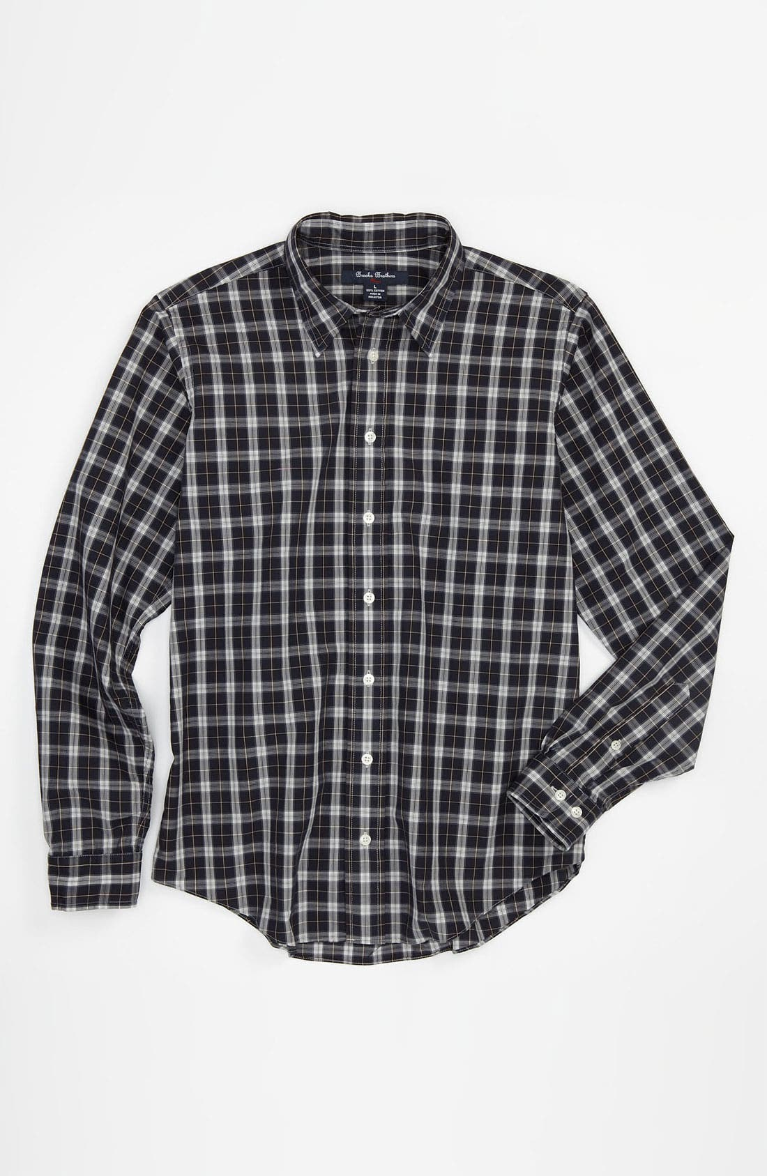 Alternate Image 1 Selected - Brooks Brothers Plaid Sport Shirt (Big Boys)