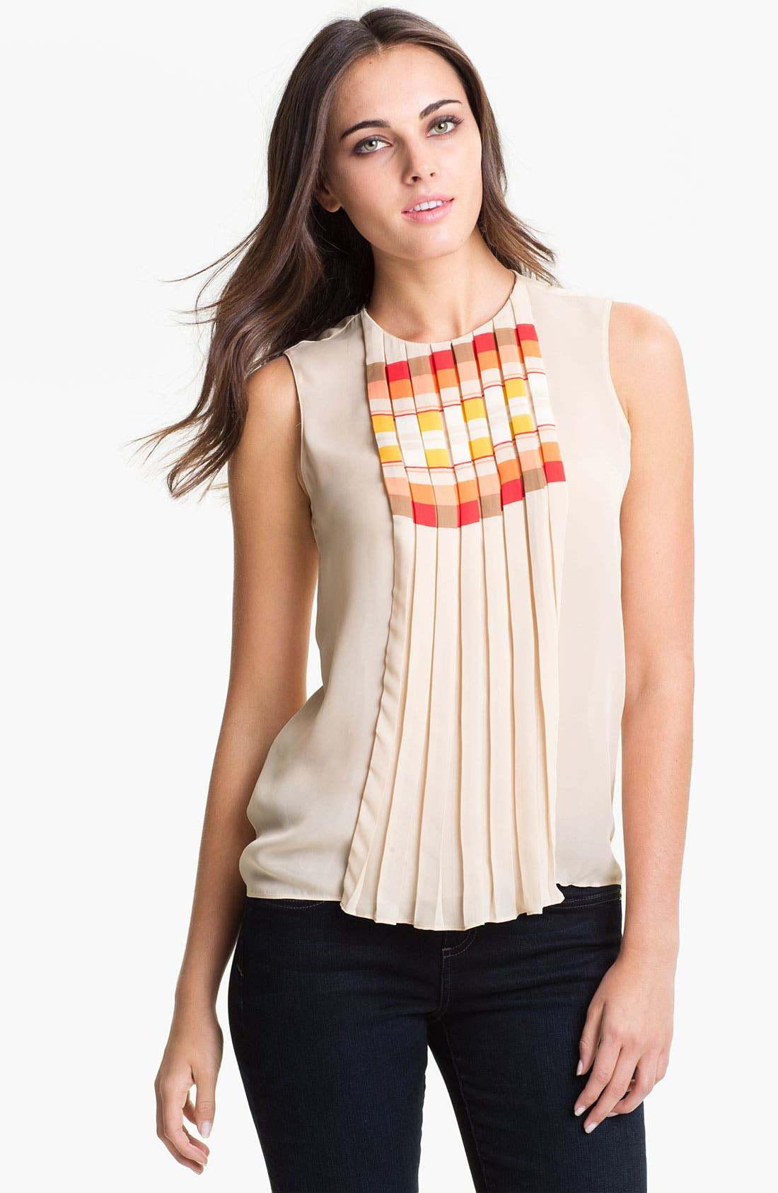 Alternate Image 1 Selected - Vince Camuto 'Geo Stripe' Pleat Front Blouse