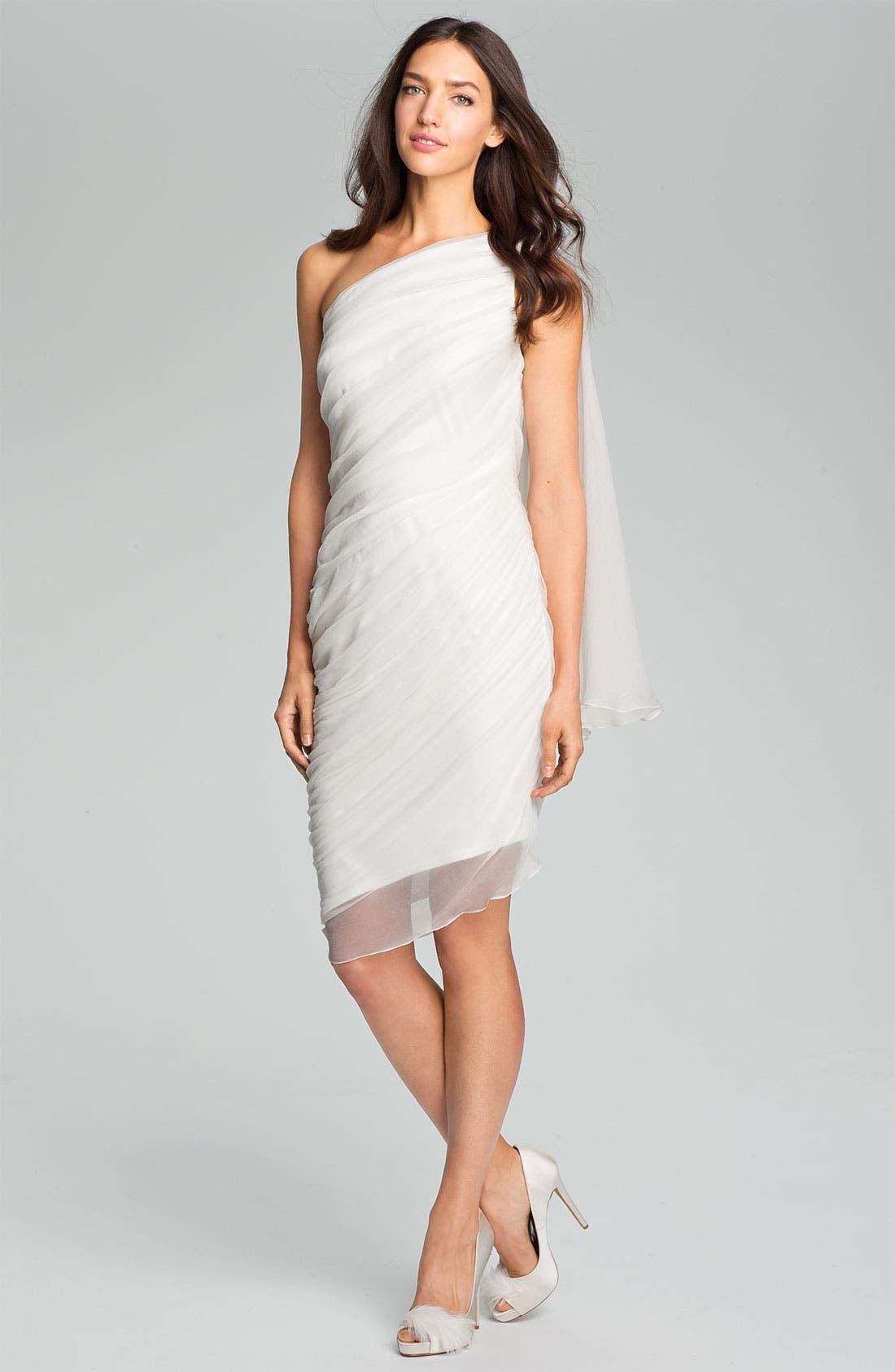 Main Image - Tadashi Shoji One Shoulder Crinkle Chiffon Dress