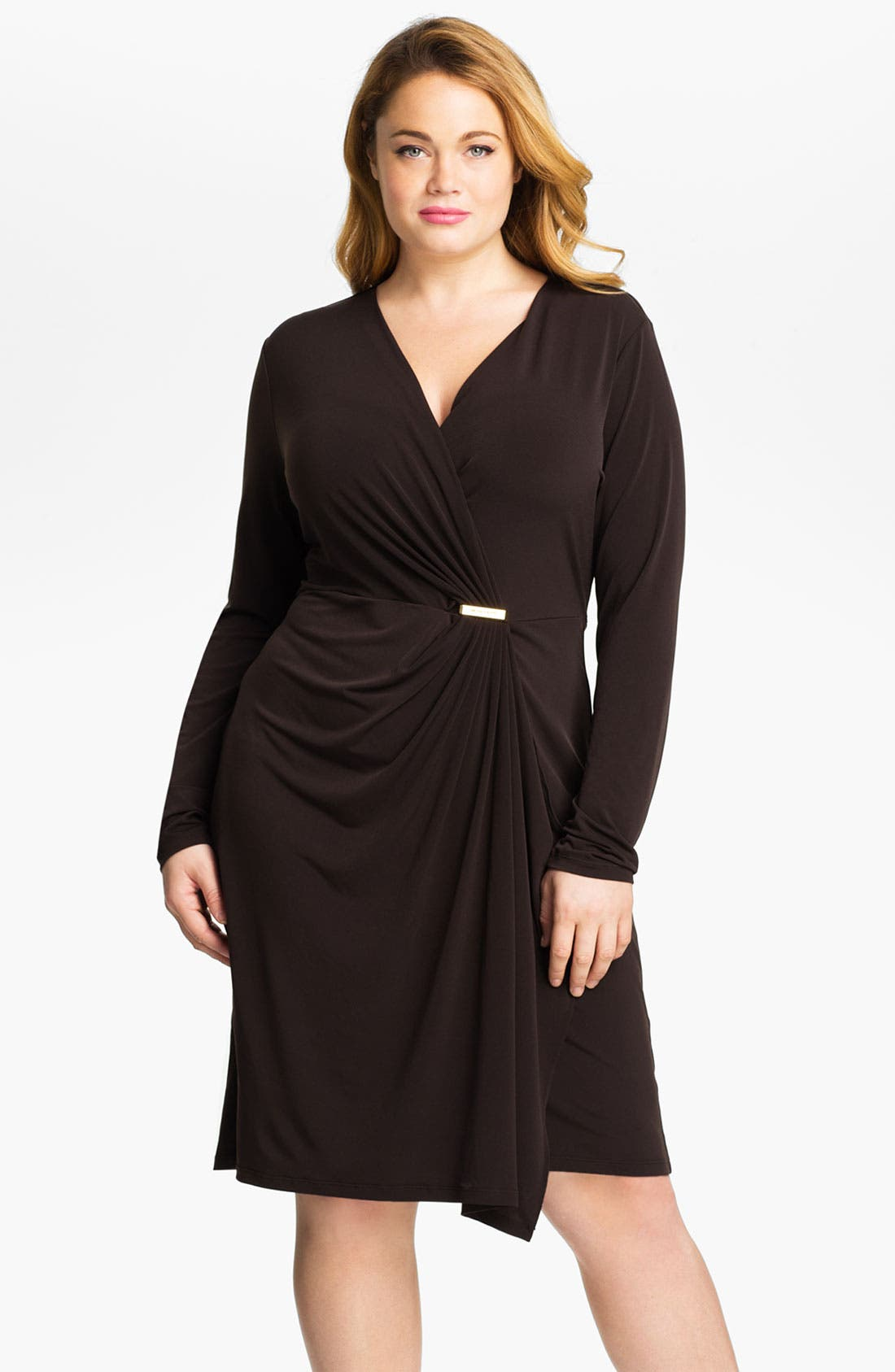 Main Image - MICHAEL Michael Kors Long Sleeve Wrap Dress (Plus)