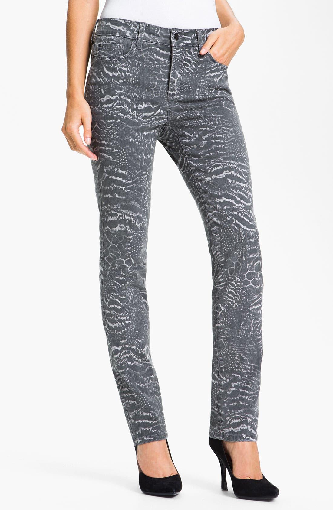 Alternate Image 1 Selected - NYDJ 'Sheri - Nature Collage' Print Skinny Twill Jeans