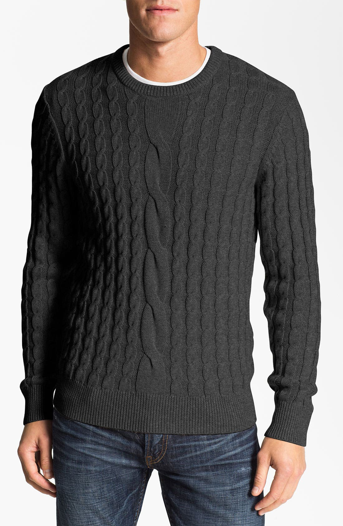 Main Image - 1901 Cabled Crewneck Sweater