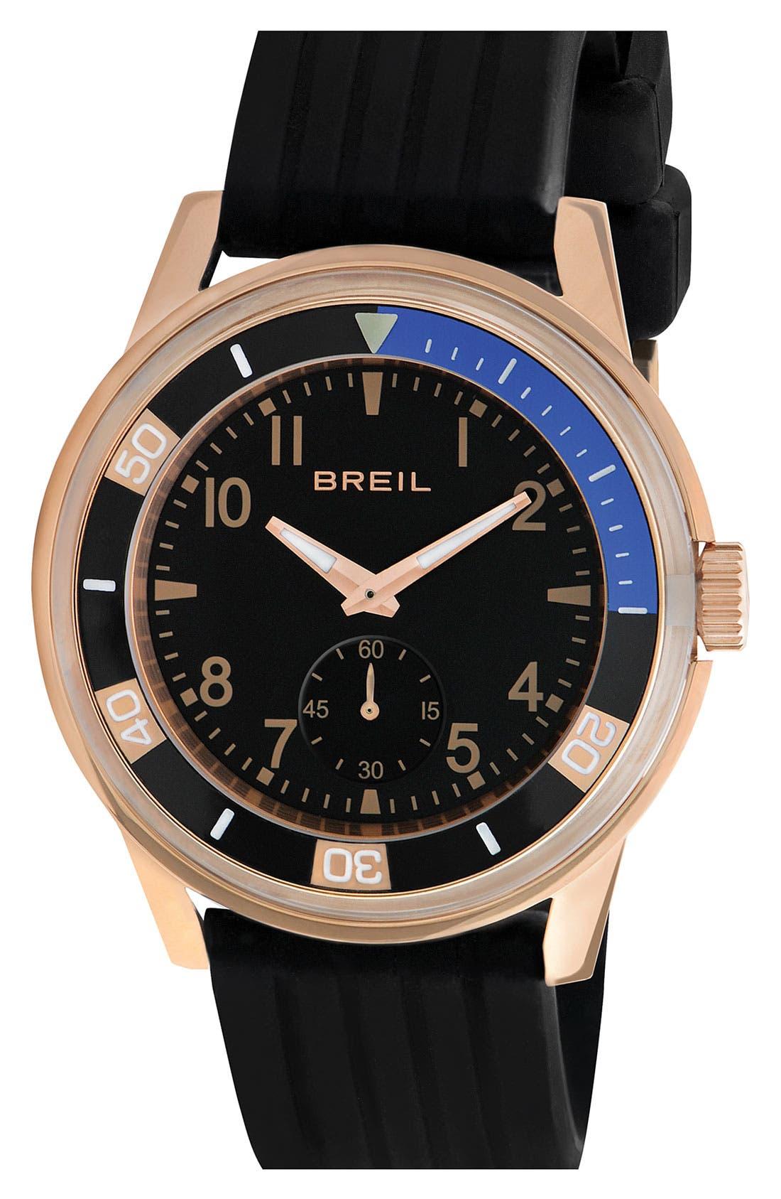 Main Image - Breil 'Orchestra' Silicone Strap Watch, 45mm