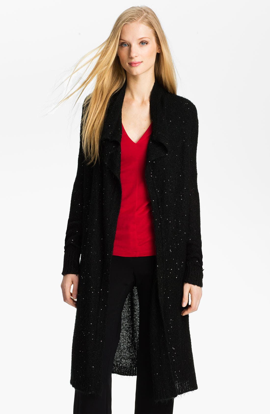 Main Image - Anne Klein Sequined Long Cardigan (Petite)