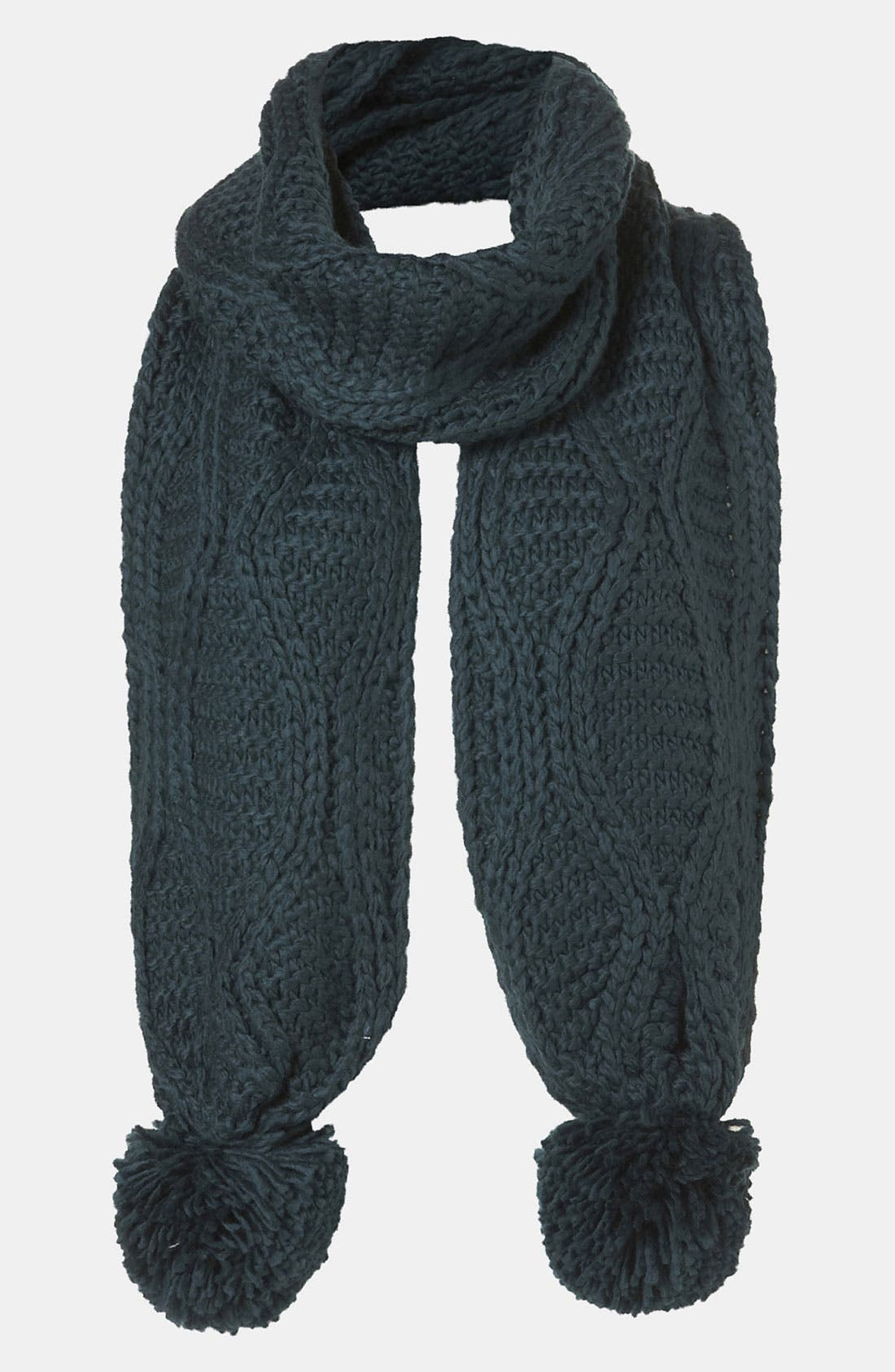 Alternate Image 1 Selected - Topshop Cable Knit Pompom Scarf