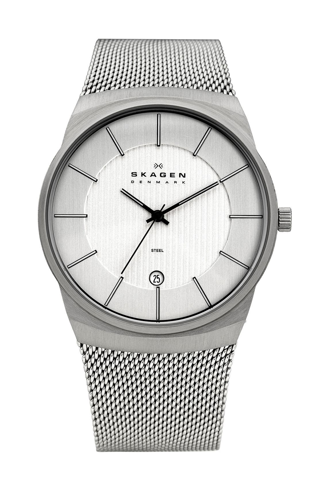 Alternate Image 1 Selected - Skagen Round Stripe Dial Mesh Strap Watch, 40mm