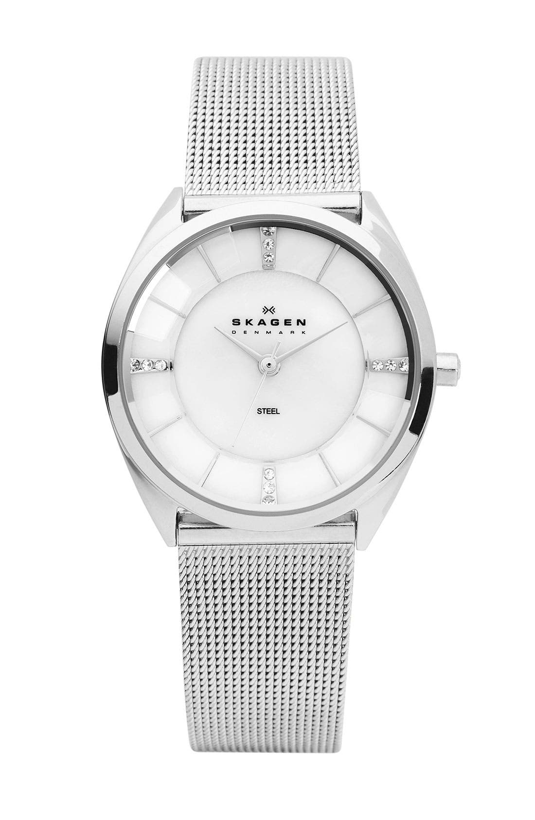 Main Image - Skagen Round Faceted Crystal Face Watch