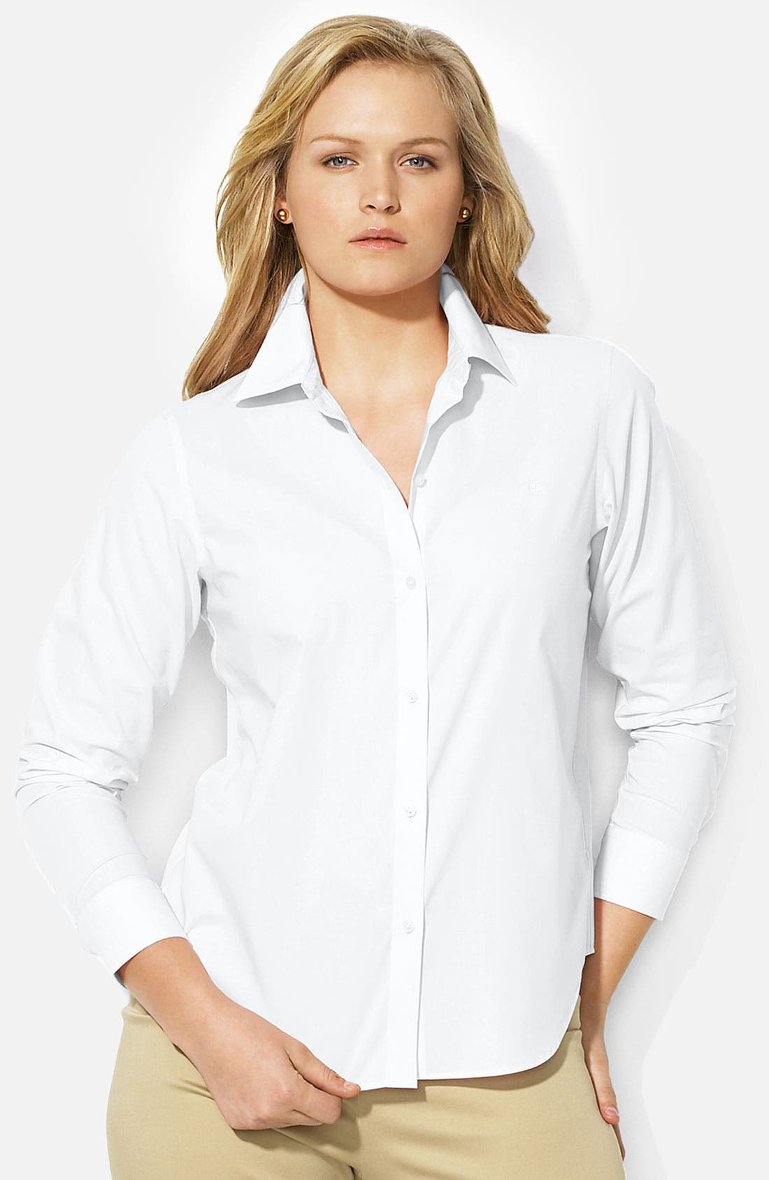Alternate Image 1 Selected - Lauren Ralph Lauren Button Up Shirt (Plus)