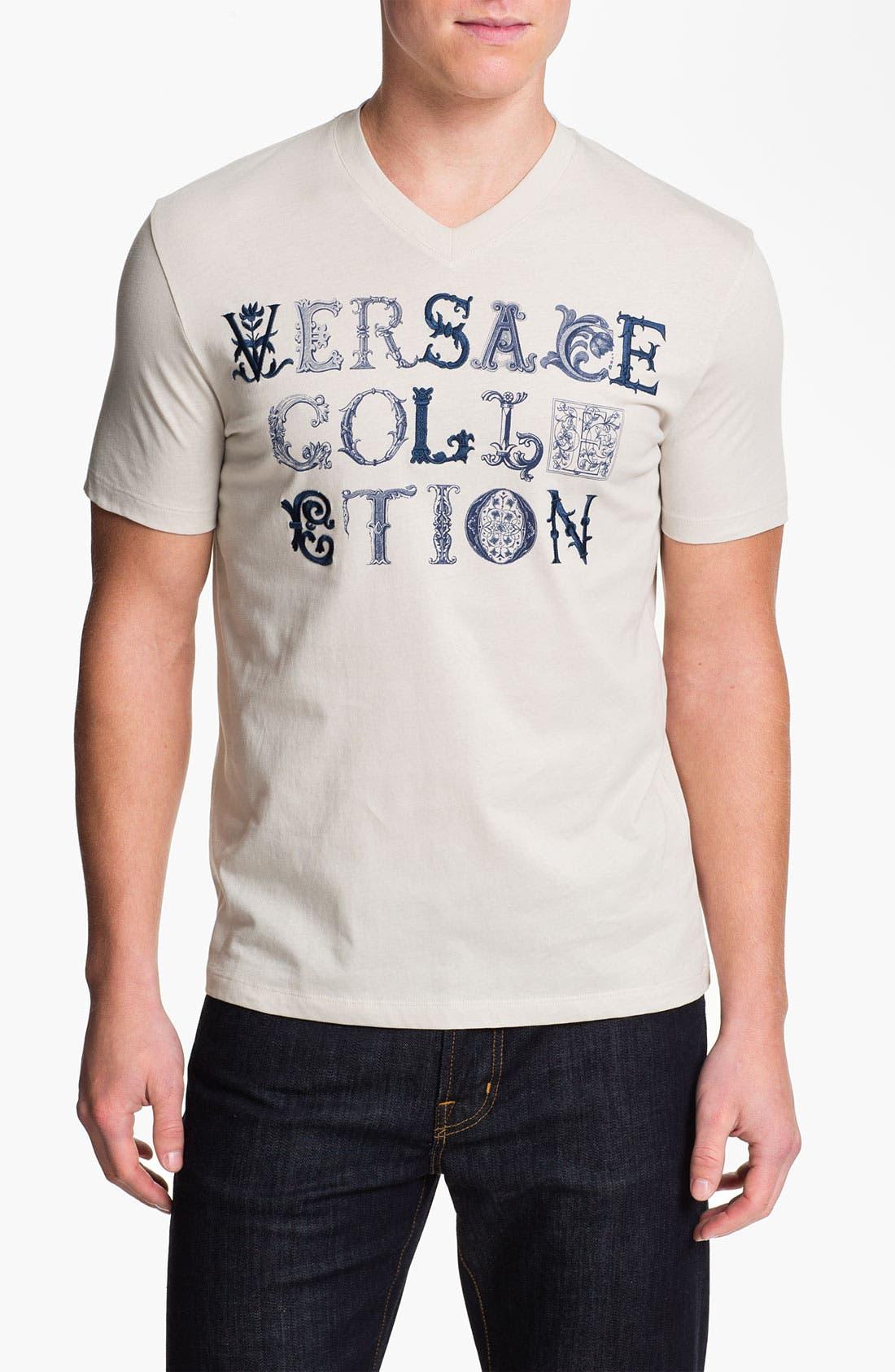 V-Neck T-Shirt,                         Main,                         color, Beige