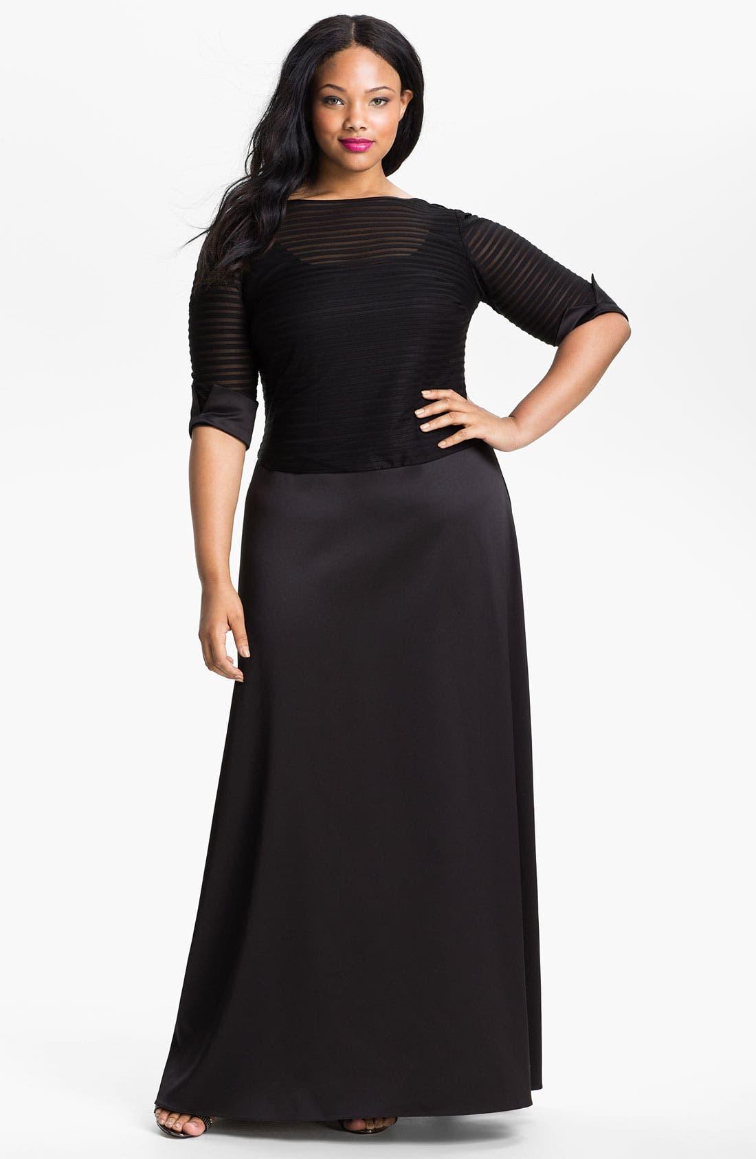 Main Image - JS Collections Illusion Bodice & Satin Dress (Plus)