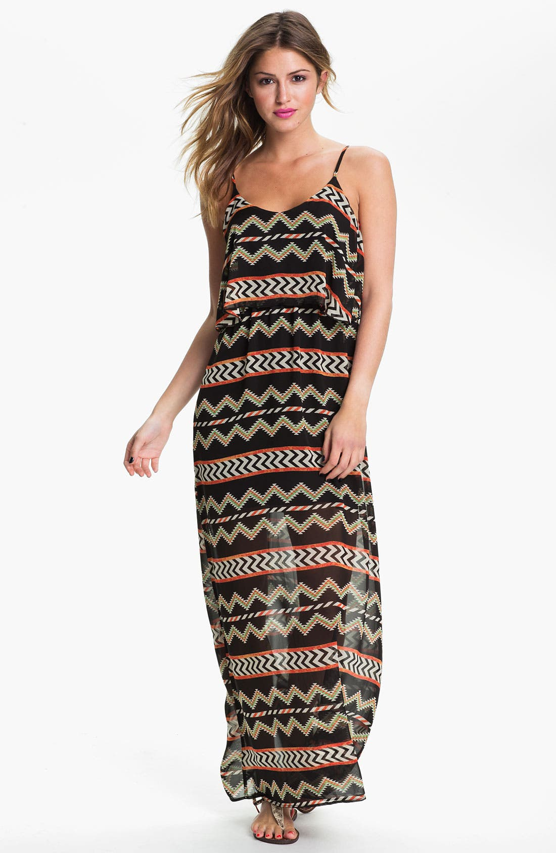 Alternate Image 1 Selected - dee elle Tribal Print Maxi Dress (Juniors)