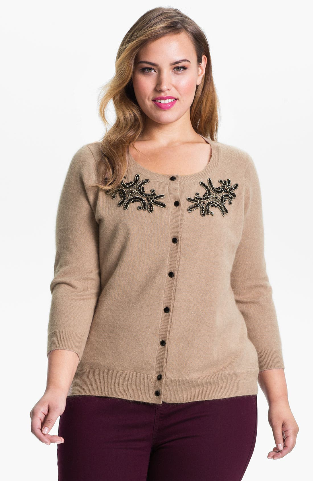 Alternate Image 1 Selected - Evans Corsage Cardigan (Plus Size)