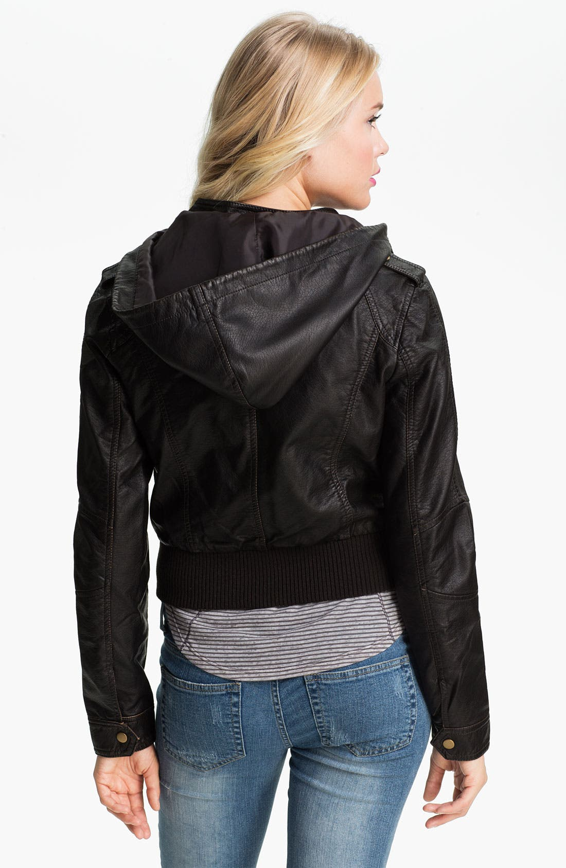 Alternate Image 2  - Thread & Supply Hooded Faux Leather Jacket (Juniors)