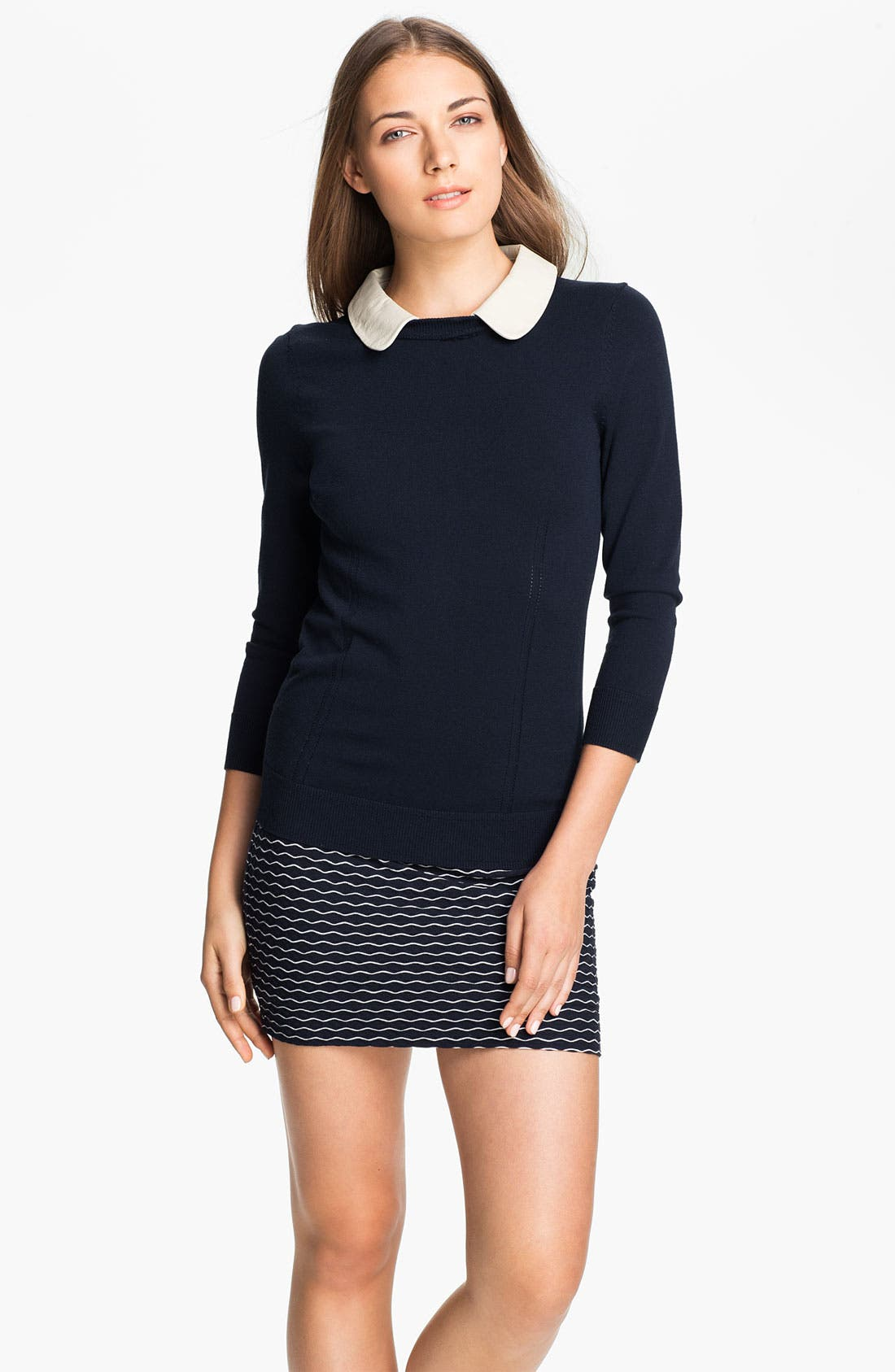 Alternate Image 1 Selected - Milly Leather Collar Sweater