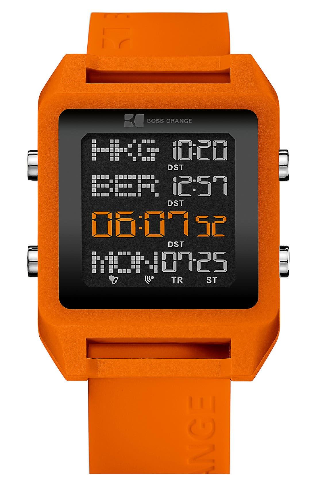 Main Image - BOSS Orange Square Digital Silicone Strap Watch, 40mm x 54mm