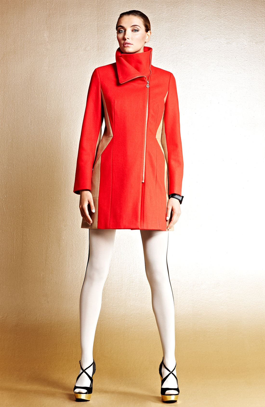 Alternate Image 7  - Calvin Klein Two Tone Asymmetrical Walking Coat