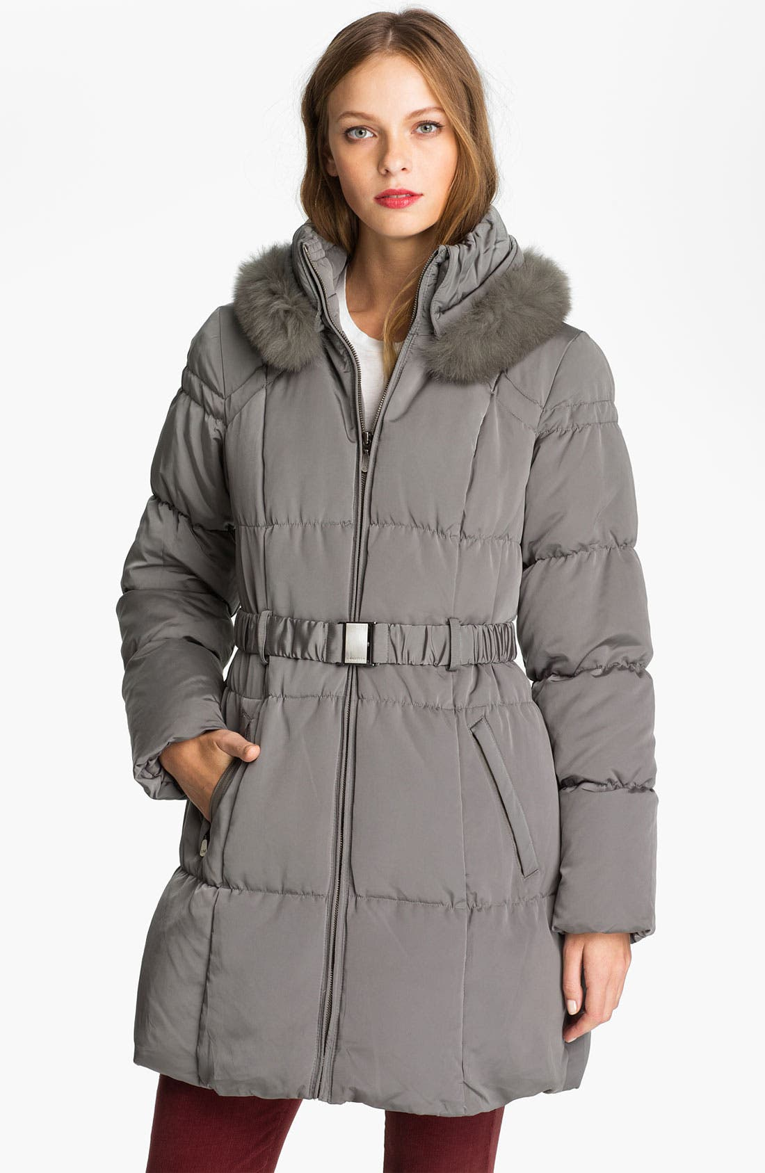 Alternate Image 1 Selected - 1 Madison Genuine Fox Fur Trim Quilted Coat (Online Exclusive)