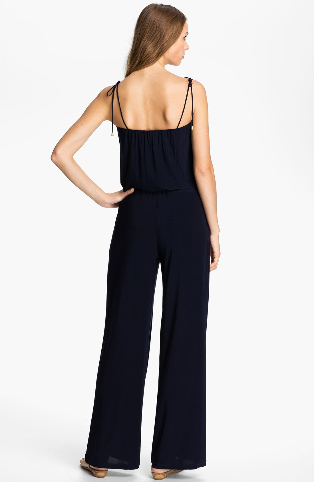 Alternate Image 2  - Tbags Los Angeles Tie Shoulder Jersey Jumpsuit