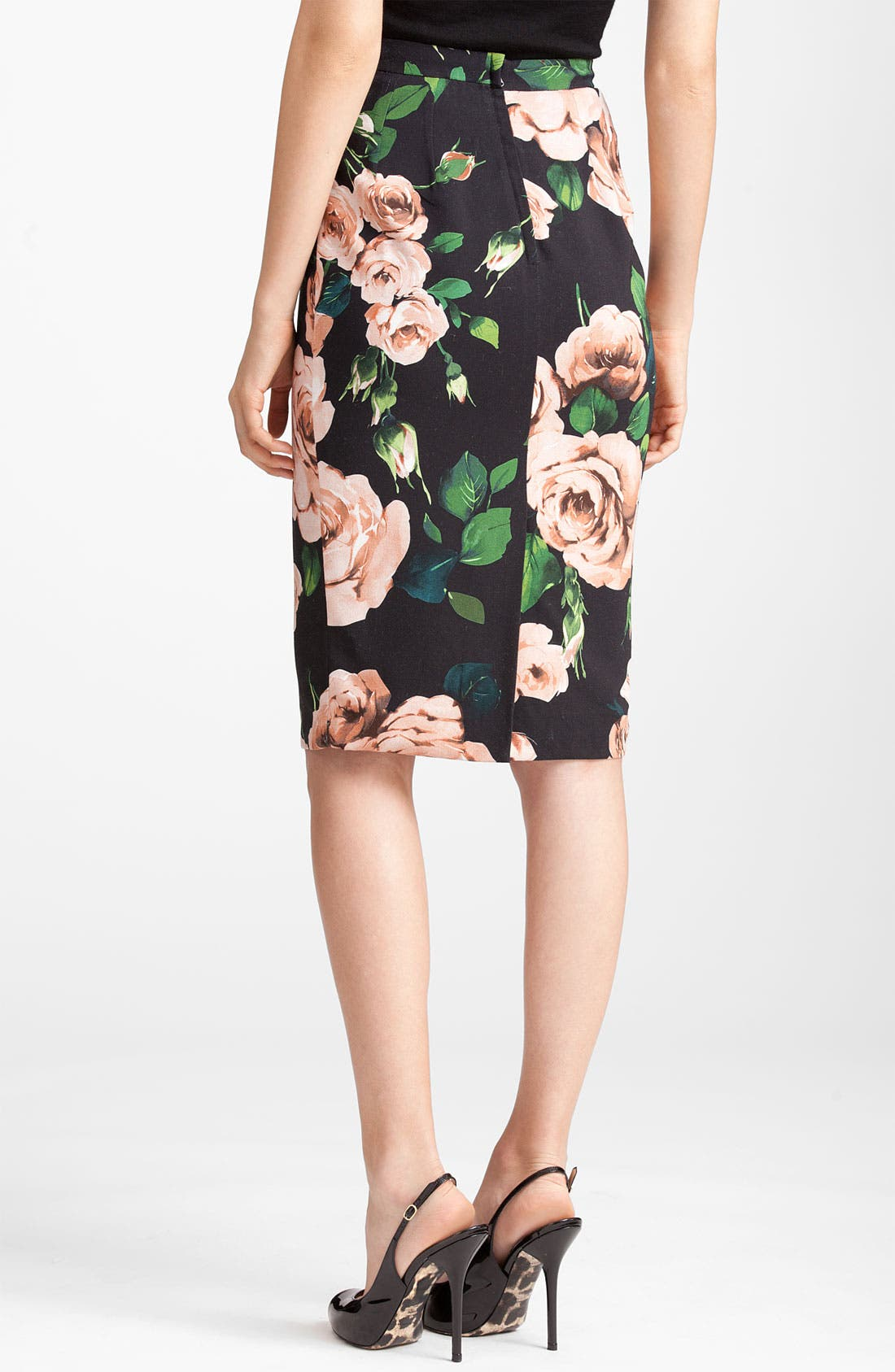 Rose Print Stretch Cady Skirt,                             Alternate thumbnail 2, color,                             Black Print