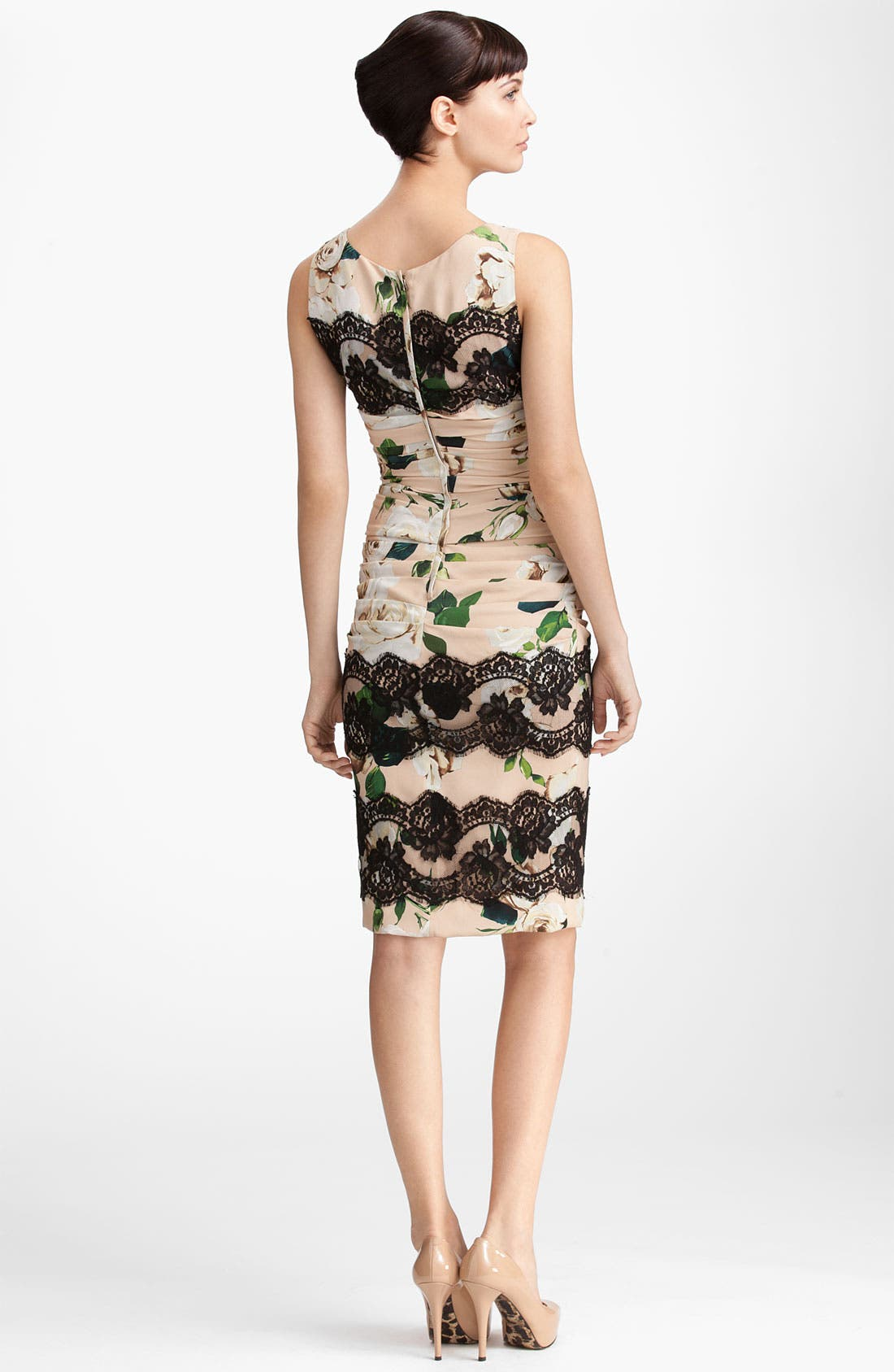 Alternate Image 2  - Dolce&Gabbana Lace Detail Rose Print Dress