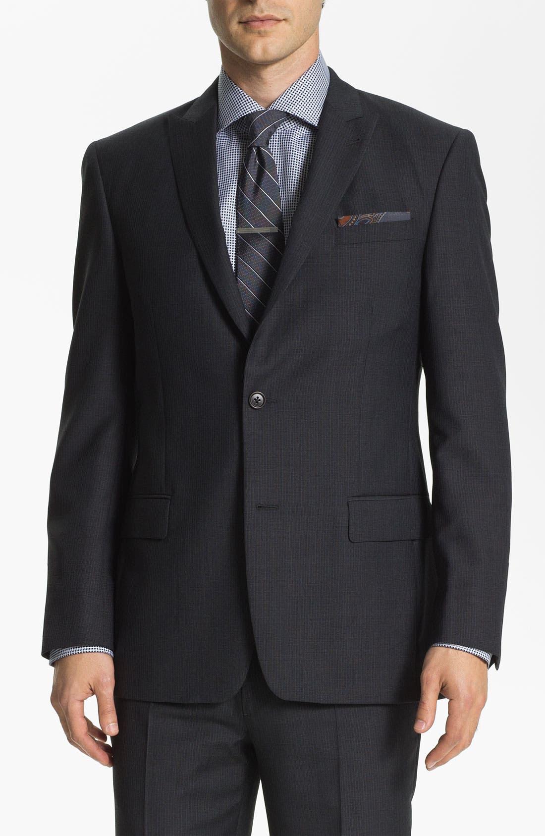 Main Image - John Varvatos Star USA 'Bowery' Trim Fit Stripe Suit