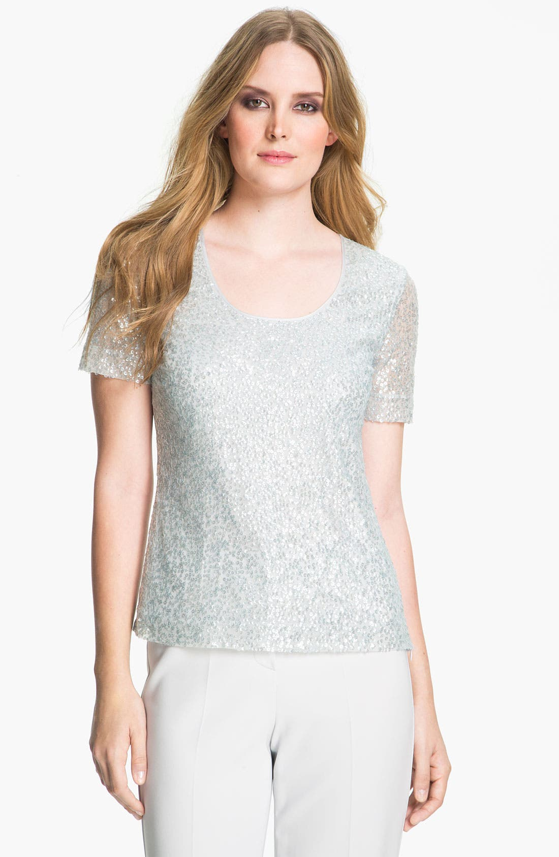 Main Image - St. John Collection Embroidered Tulle Top