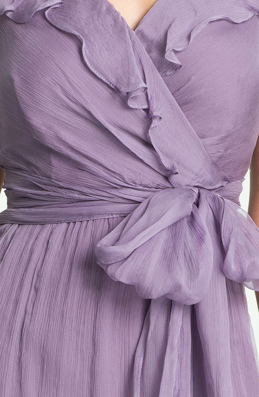 Alternate Image 3  - Amsale Ruffle Crinkle Silk Chiffon Dress