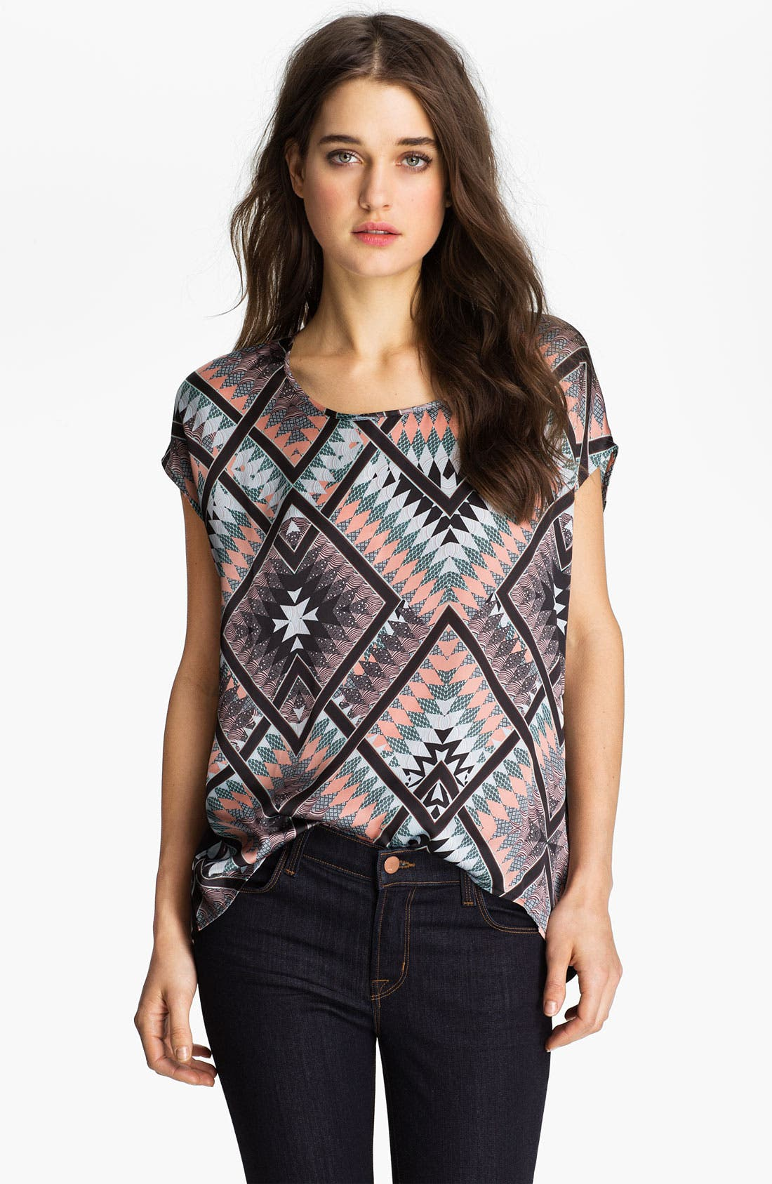 Main Image - Hinge Aztec Print Mixed Media Top