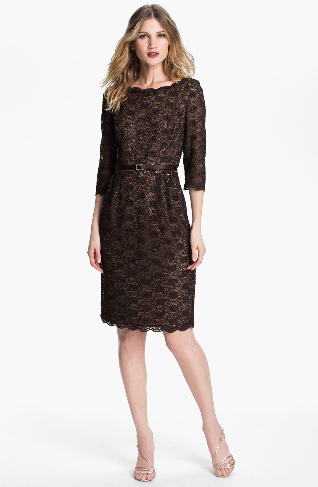 Lace Sheath Dress,                         Main,                         color, Chocolate